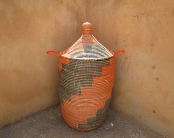Big Orange and Brown Laundry Hamper, Basket , Staircase Pattern, Cesto, panier africaine, Storage,