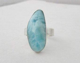 Sterling silver Larimar large stone silver ring big stone ring