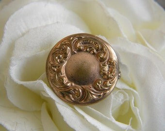 Rose Gold Washed Victorian Pin C Clasp  Repousse Lovely Brooch