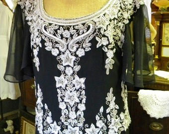 Gorgeous Beaded Evening Gown Jkara Size 12, Black and White and Beautiful