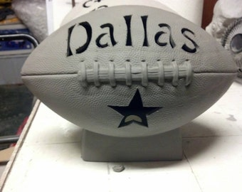 Ceramic Football Bisque..You Paint !!. I can cut any team, or name out
