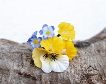 Pansy Hair Pins, Yellow Flower bobby pin, Floral Hair Pin, Wedding Hair Accessories