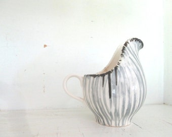 Vintage Gray, White and Black Pottery Pitcher/Creamer, Mid Century Style