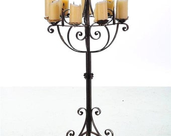 "Spanish Revival ""Gorgeous"" Wrought Iron 8 Candle holder Torcheres"