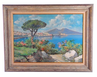 Naples view of the Bay-Beautiful Vintage Italian Oil painting -Signed-WOW!