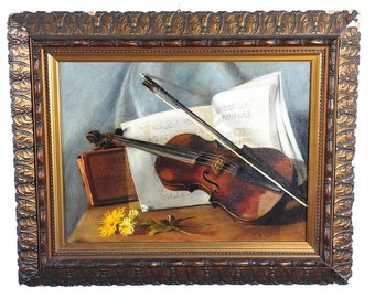 Violin & Flowers 19th C. original Still Life Oil Painting on Canvas-Signed