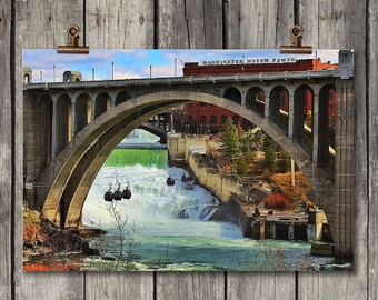 Monroe Street Bridge - Northwest, Scenic, Bridge, Architecture, Photography - Spokane, WA - Fine Art Print, Canvas Gallery Wrap, Metal Print