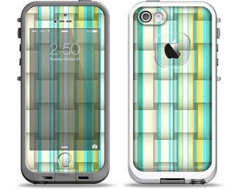 The Vivid Green and Yellow Woven Pattern Apple iPhone LifeProof Case Skin Set