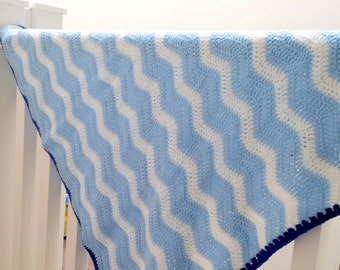 Blue and White Baby Blanket, Crochet Afghan With Ripple Wave Design, Newborn or Toddler Baby Boy.