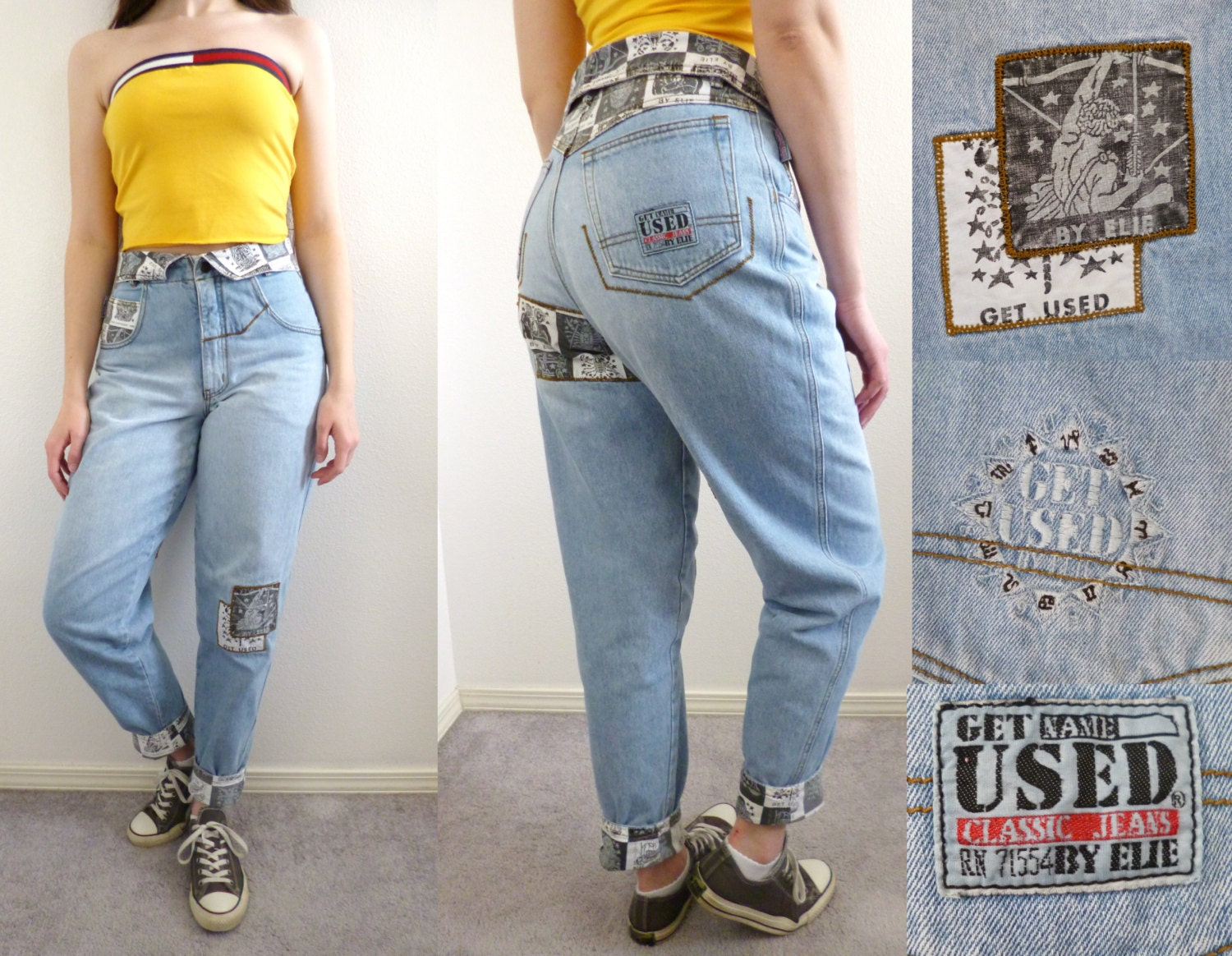 VTG 90s Get Used By Elie Jeans High Waist Tapered Baggy Size S