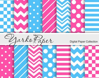 Pink And Blue Digital Paper Pack, Chevron, Polka Dot, Stripes, Check, Basic Geometric Paper, Digital Background, 14 Sheets- Instant Download