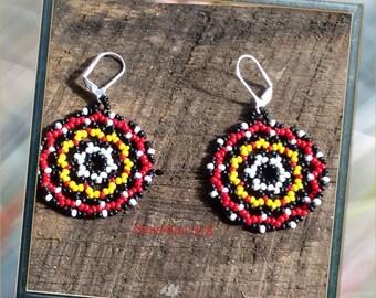 "Seed Bead Earrings Mandala ""Took My Heart"""