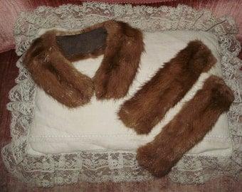 Vintage Fur Collar and Cuffs