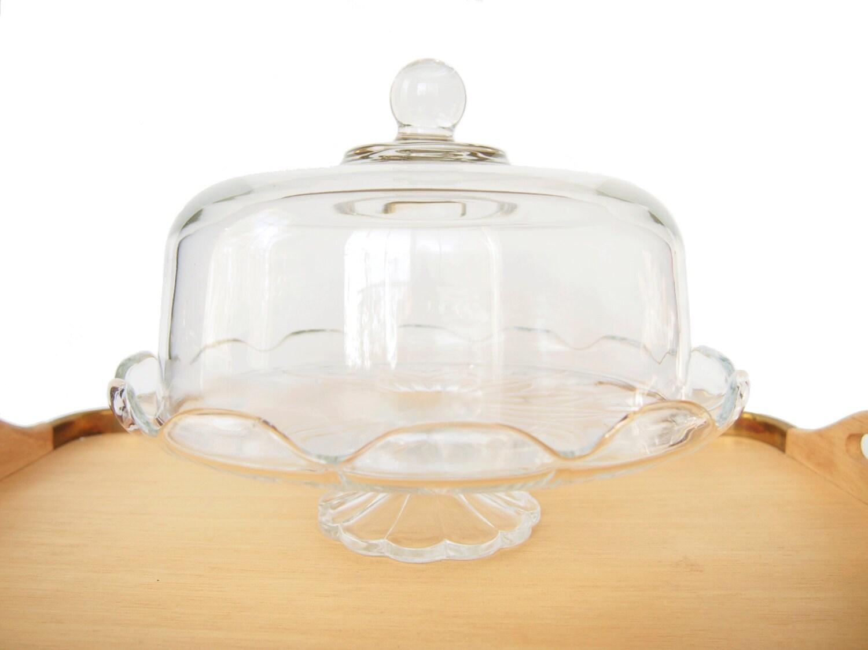 vintage covered clear glass cake plate stand dome lidded. Black Bedroom Furniture Sets. Home Design Ideas