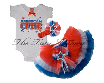 4th of July Tutu .  AMERICAN CUTIE Tiered Tutu Set . Infant & Toddler