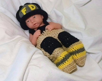 Newborn Crochet Firefighter Outfit Baby Crochet Fireman Outfit Newborn Crochet Outfit Firefighter Baby Boy Firefighter photo prop