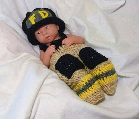 Crochet Patterns For Baby Frocks : Newborn Crochet Firefighter Outfit Baby Crochet Fireman Outfit