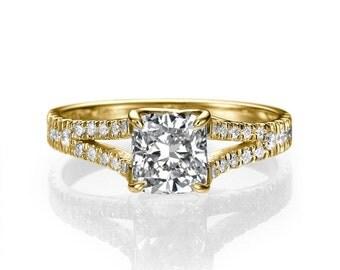 Split Shank Ring, Cushion Diamond Engagement Ring, 14K Gold Ring, 1.2 TCW Diamond Ring Vintage, Art Deco Engagement Ring