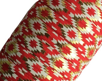 """Red with Gold Aztec 5/8"""" Fold Over Elastic by the Yard - 1, 3 or 5 yards"""