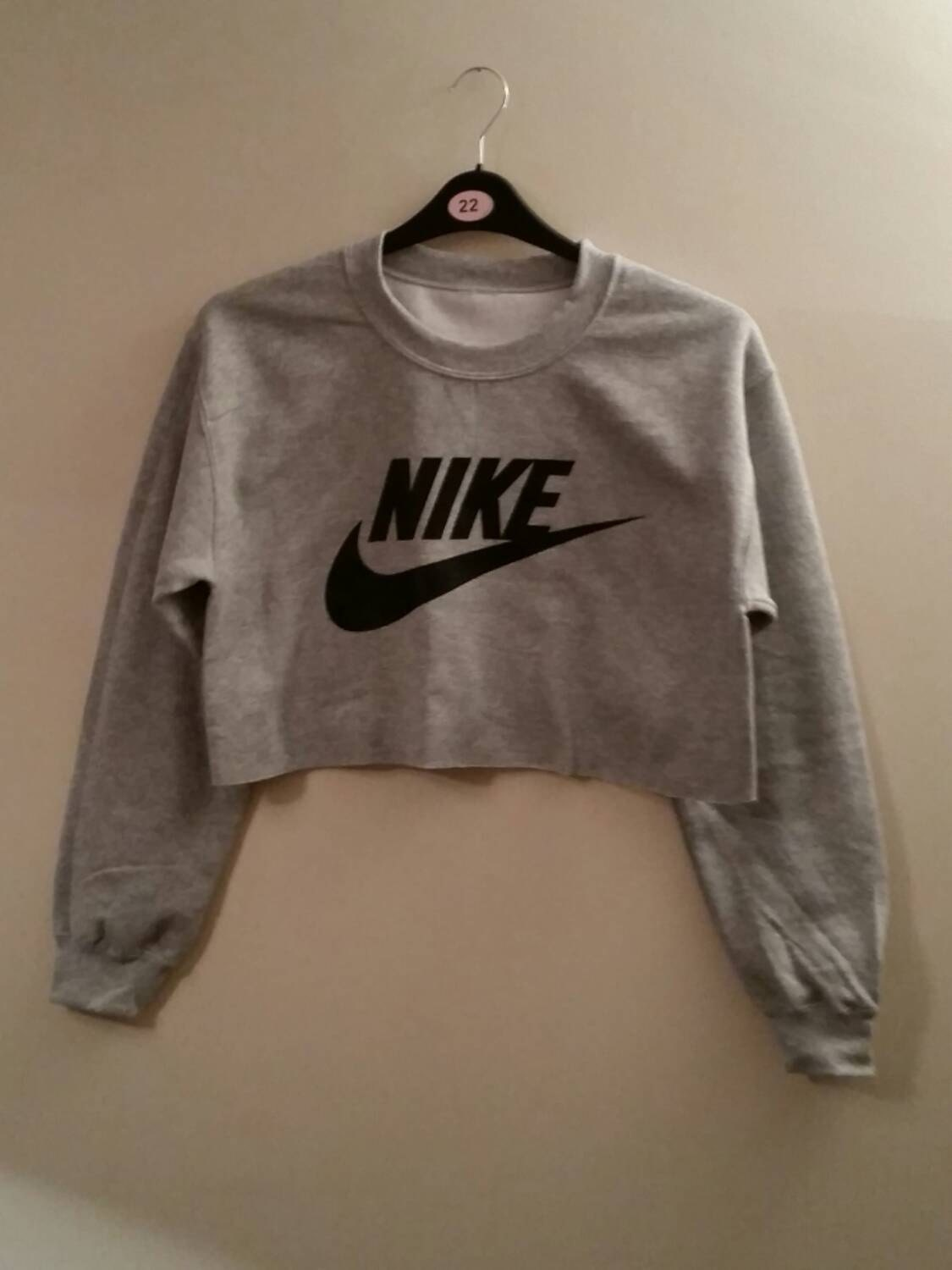 unisex customised nike cropped jumper sweatshirt by. Black Bedroom Furniture Sets. Home Design Ideas