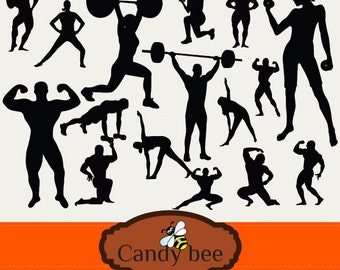 Fitness and Body building Silhouette Clip art, Exercise, work out Silhouette Clipart358