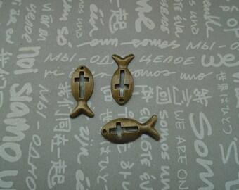 100pcs antique bronze metal fish charm , metal fish pendant , 20x10mm--CP774