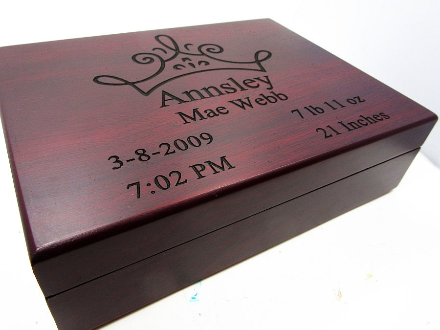 Personalised Baby Gifts Keepsake Boxes : Personalized baby keepsake gift box in rosewood by