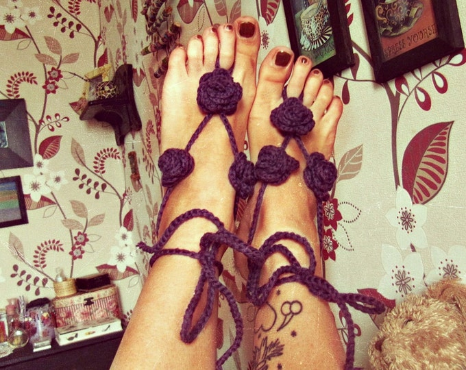 Gypsy Barefoot Sandals - Bohemian Foot Jewelry - Roses Nude Shoes - Beach Party Sandals - Hippie Boho Barefoot Shoes - Free Size - In Stock