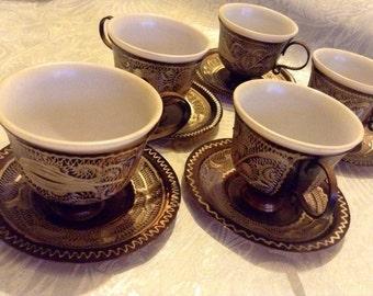 Vintage Set Of Five Turkish Copper Engraved Expresso Cups & Saucers