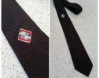 Vintage 1960s 60s Mens skinny neck tie // burgundy // mad men // Rockabilly // VLV