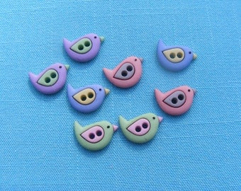 Sew Cute Birds Button Embellishments (8 pieces)