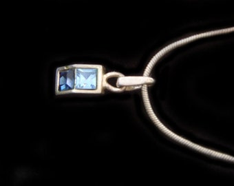 Blue Topaz and Sapphire Necklace Sterling Silver