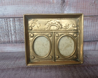 Vintage Brass Double Picture Frame