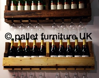 Rustic wine rack reclaimed wood made from recycled pallets 100cm 8 -10 bottles 8 glasses