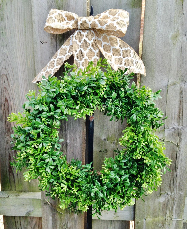 Outdoor boxwood wreath faux boxwood wreath by theflirtyfeather