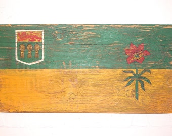 Saskatchewan Wood Flag, Distressed, Decorative and in a Variety of Sizes!