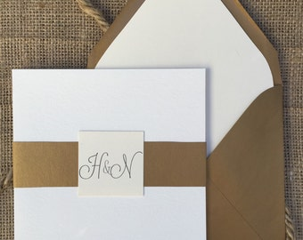 Modern Gold & White Wedding Invitation, Simple and Elegant