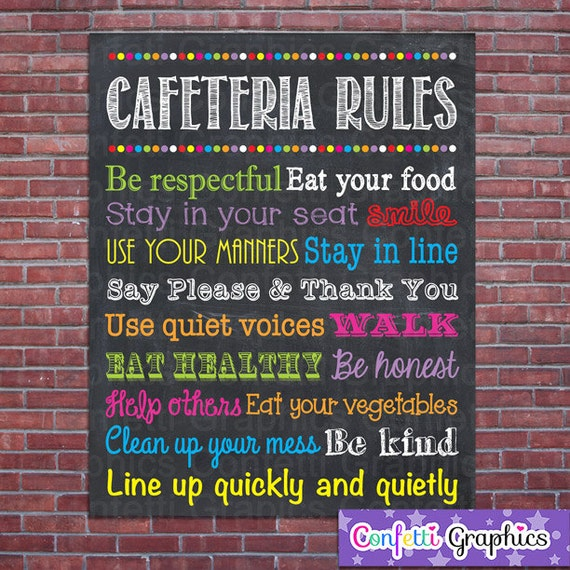 Innovative Classroom Rules ~ Cafeteria lunchroom rules expectations sign poster school