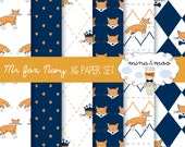 x6 Mr Fox Navy digital papers, fox pattern, fox wallpaper, fox illustration