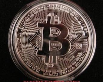 1x .999 Fine Silver-Plated BITCOIN Commemorative Physical Custom Coin BTC Casascius Litecoin Peercoin