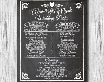 Chalkboard Wedding Program Sign Printable Signage Rustic