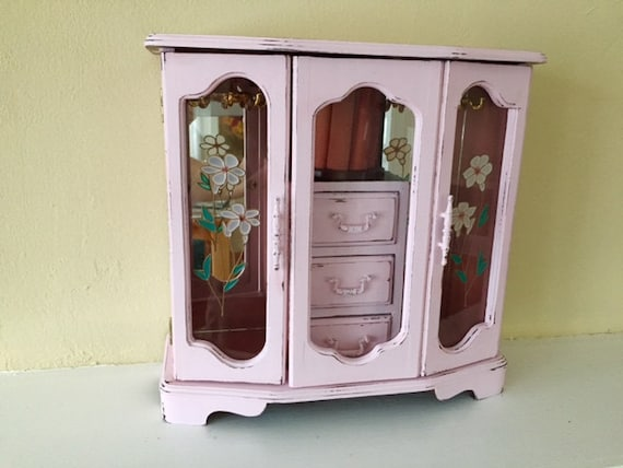Large Vintage Jewelry Armoire Pink Distressed