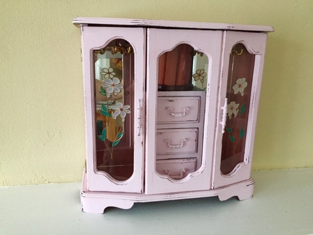 Large vintage jewelry armoire pink distressed for Juno vintage modern jewelry armoire
