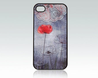 Poppy iPhone 4 case, iPhone 4s case, drawing flowers iPhone 4 cover, iPhone 4s cover