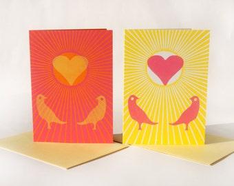 Love Birds - letterpress greeting card - single