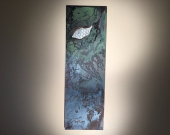 long collage of swirled ink and real military map pieces covered by a wire fence feminist art air force