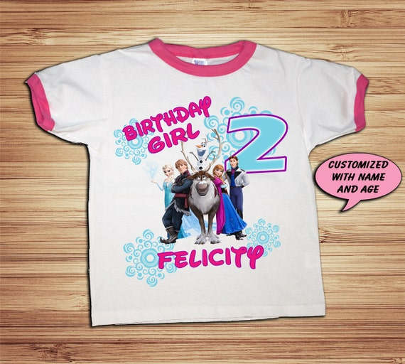 Frozen Pink Ringer T Shirt Personalized - Elsa, Anna, Olaf