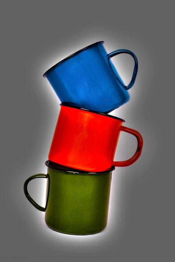 Vintage Metal Enamel Coffee Tea Cups Mugs