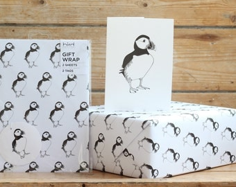 Puffin print gift wrap, tags and card set