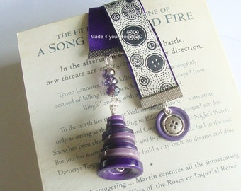 I love buttons Purple embroidery ribbon bookmark